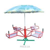 Фото DALI Карусель четырехместная с зонтиком (603/кр)