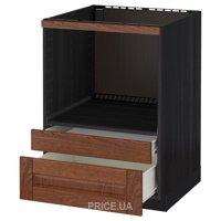Фото IKEA METOD/FORVARA Напольный шкаф для СВЧ с ящиками, черный 60x60 (790.269.88)