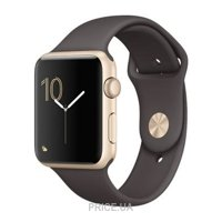 Фото Apple Watch Series 1 42mm Gold Aluminum Case with Cocoa Sport Band (MNNN2)