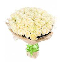"Фото Доставка цветов 51 белая роза 70 см ""Avalanche"""