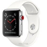 Фото Apple Watch Series 3 (GPS) 38mm Stainless Steel w. Soft White Sport B. (MQJV2)