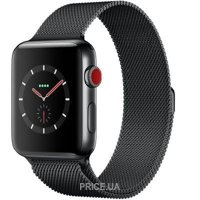 Фото Apple Watch Series 3 38mm Space Black Stainless Steel Case with Space Black Milanese Loop (MR1H2)