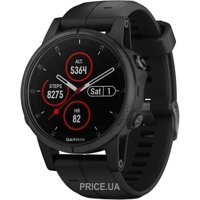 Фото Garmin Fenix 5S Plus Sapphire, Black with Black Band (010-01987-03)