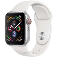 Фото Apple Watch Series 4 GPS + Cellular 40mm Silver Aluminum Case with White Sport Band (MTVA2)