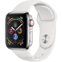 Фото Apple Watch Series 4 GPS + LTE 40mm Stainless Steel Case with White Sport Band (MTVJ2)