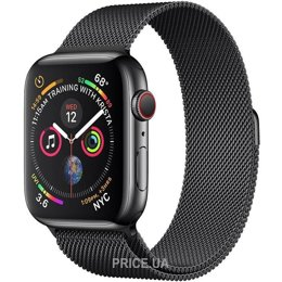 Apple Watch Series 4 GPS + LTE 44mm Black Steel w. Black Milanese l. Black Steel (MTX32)