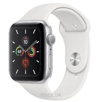 Apple Watch Series 5 44mm GPS Silver Aluminum Case with White Sport Band (MWVD2)